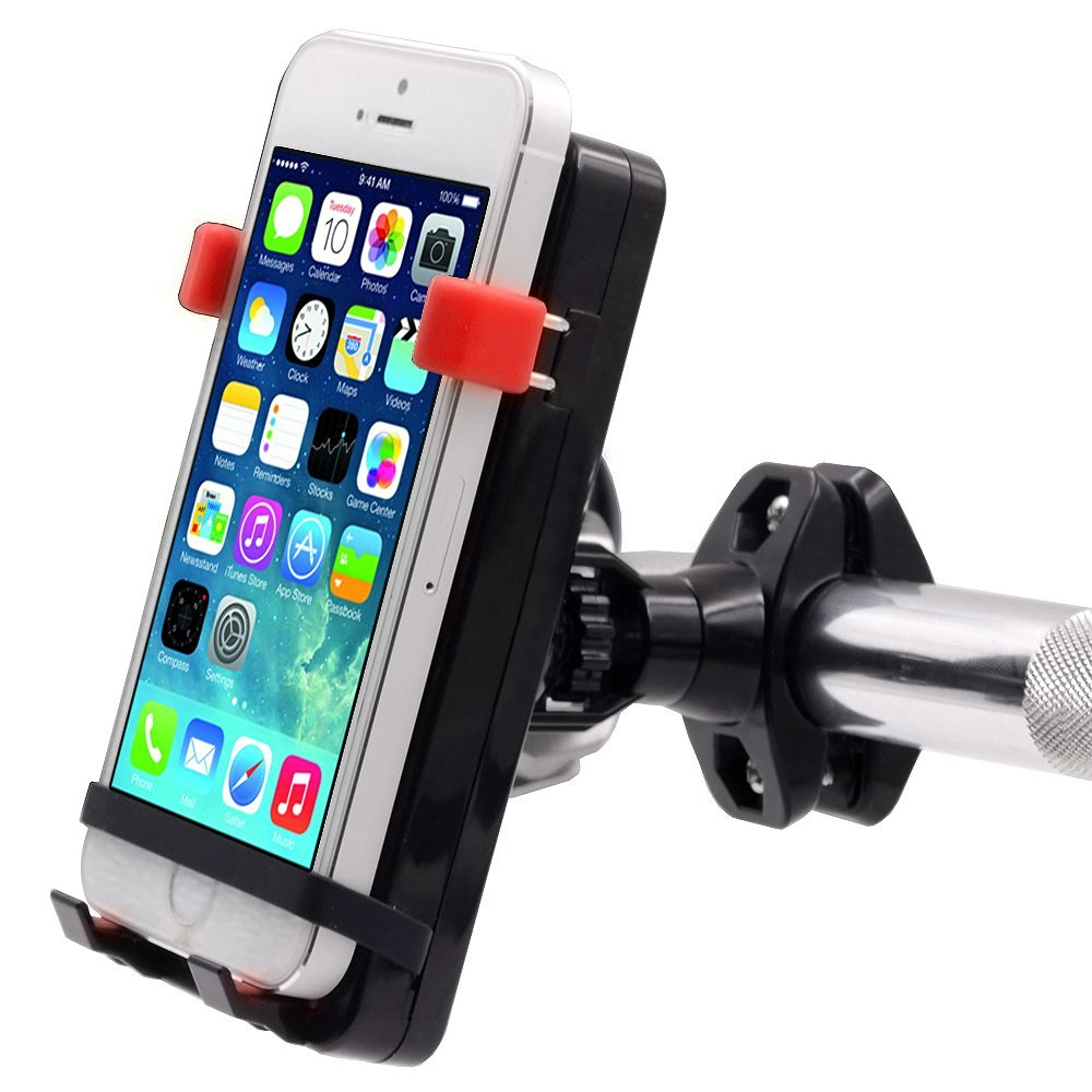 TurnRaise Waterproof Motorcycle Mobile Phone Holder Cell Phone Mount Stand with 2.1A USB Charger Built-in for Bike Motorcycle