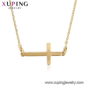 44712 xuping china import latest gold design wholesale christian items cross necklace jewelry