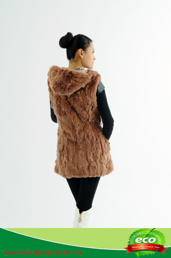 2014 New Fashion 100% Real rabbit fur Vest with hat