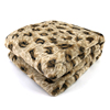 Double sides throw plush Leopard print fake/faux fur pv fleece blanket with sherpa layer back side