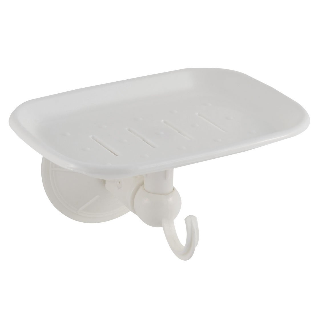 uxcell PVC Home Bathroom Wall Mounted Suction Cup Soap Plate Rack Holder Case White