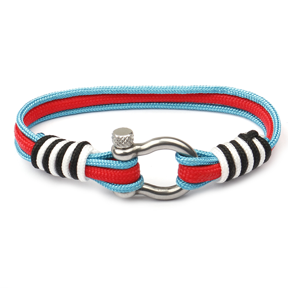 Colorful Nylon Survival Rope Anchor Bracelet Elastic Fish Hook Nautical Sailors Silver Stainless Steel Bracelet, As the picture