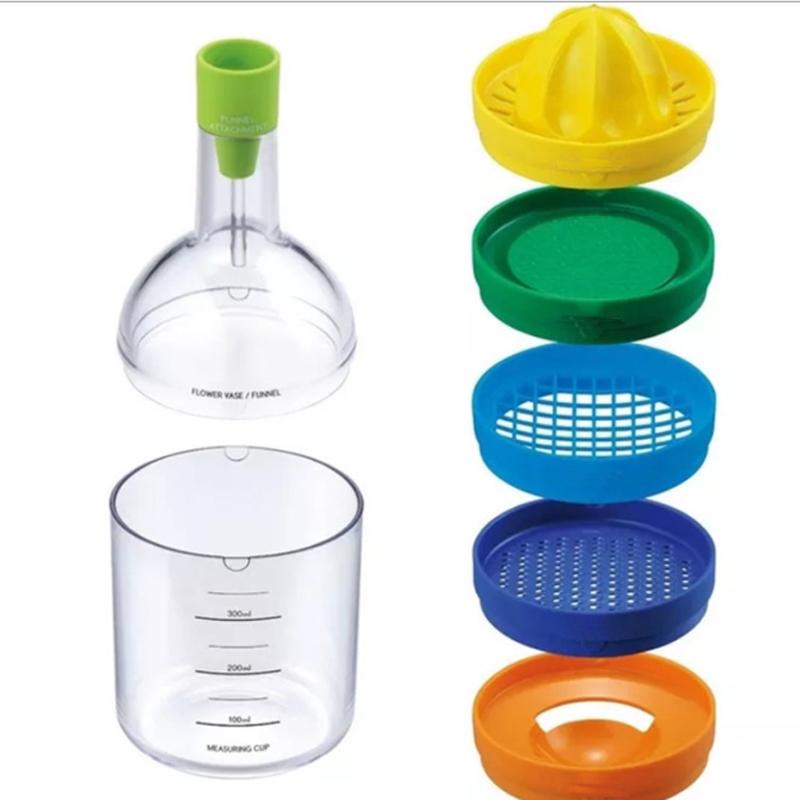 Plastik çok amaçlı mutfak gadget kutusu 8 in 1 mutfak meyve sebze rende aracı şişe gibi