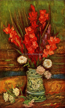 Still LIfe oil painting Vase with Red Gladiolas by Van Gogh