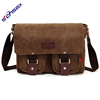 fashion travel small shoulder canvas bag leather zipper man office hand sling bag