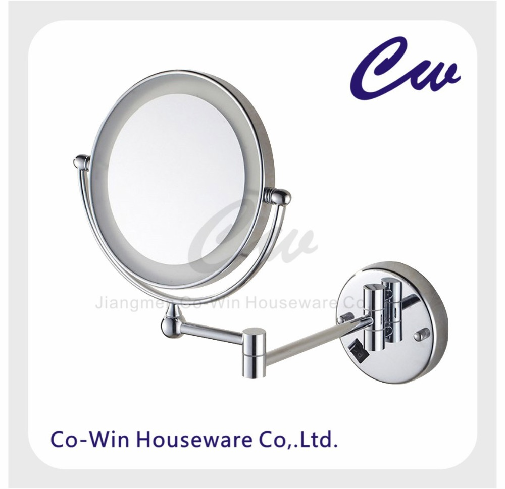 Iron Silver Double Side Wall Mount Movable Round Makeup LED Mirror Cosmetic LED Mirror 1X/3X Magnification Chrome Finish