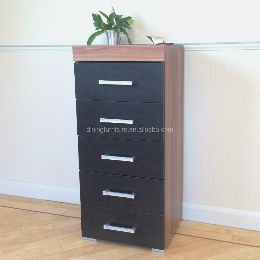 Black & Walnut Tall Boy Chest of 5 Drawers Bedroom Furniture