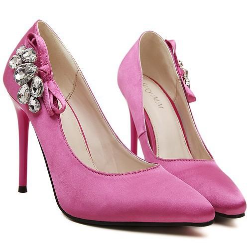2c00de039f5 Get Quotations · 2015 Sexy sweet satin diamond stiletto high documentary  shoes