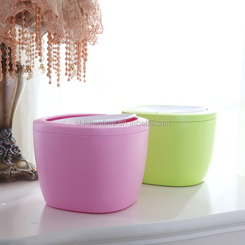 Square And Round Shape Plastic Desk Trash Can Waste Bin