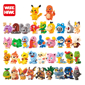 Hot selling diamond bricks toy 38 different Pokemon action figures plastic building block for children
