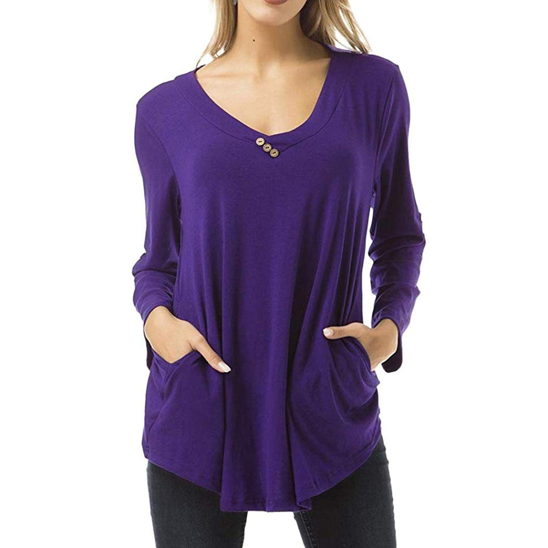 Women's Tunic Pocket Long Sleeve V Neck Flowy Casual T-Shirt Blouses Tops BCDshop