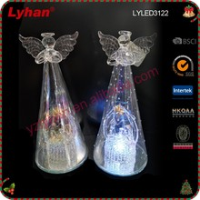 hot sale clear glass guardian angel with LED for Christmas Nativity scene