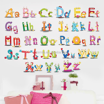 New Hot Baby Nursery Learning Letters Wall Stickers Decal Decor Caroon Animals English Alphabet Scratch Sticker Printable