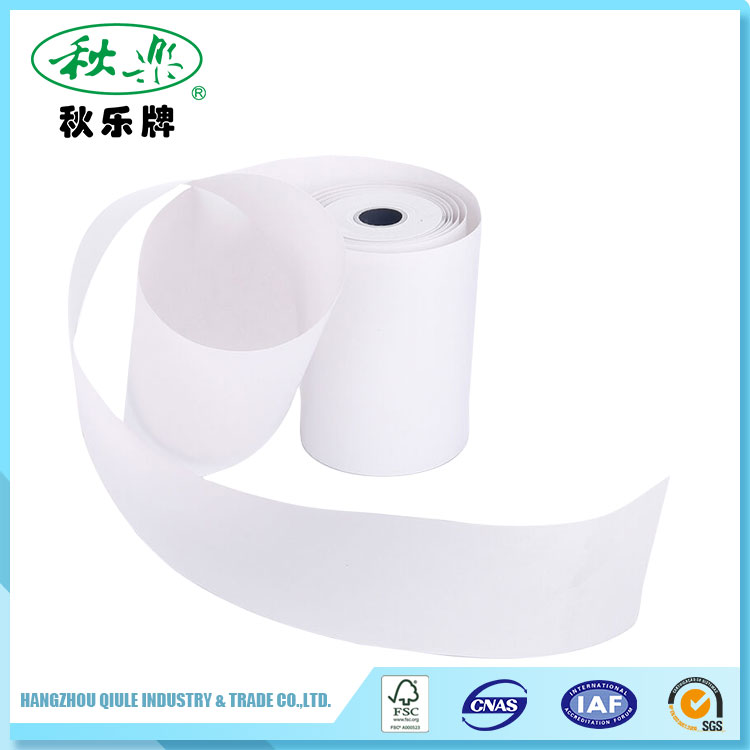 Thermal POS cash register paper roll with printed brand logo