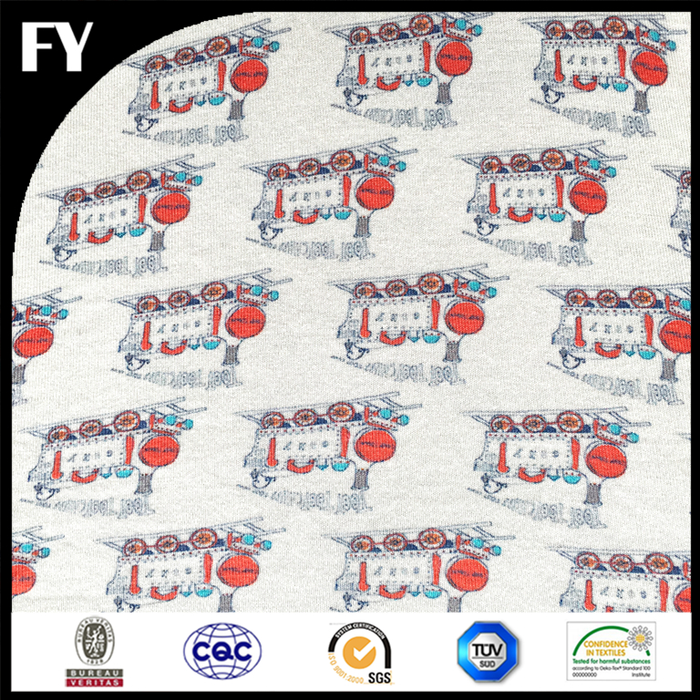 Custom digital 100% cotton train printed jersey fabric wholesale