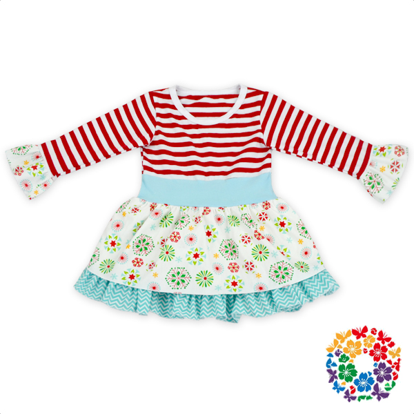 2016 Lastest Design Christmas Boutique Ruffles Christmas Dress Clothes Giggle Moon Remake Outfits