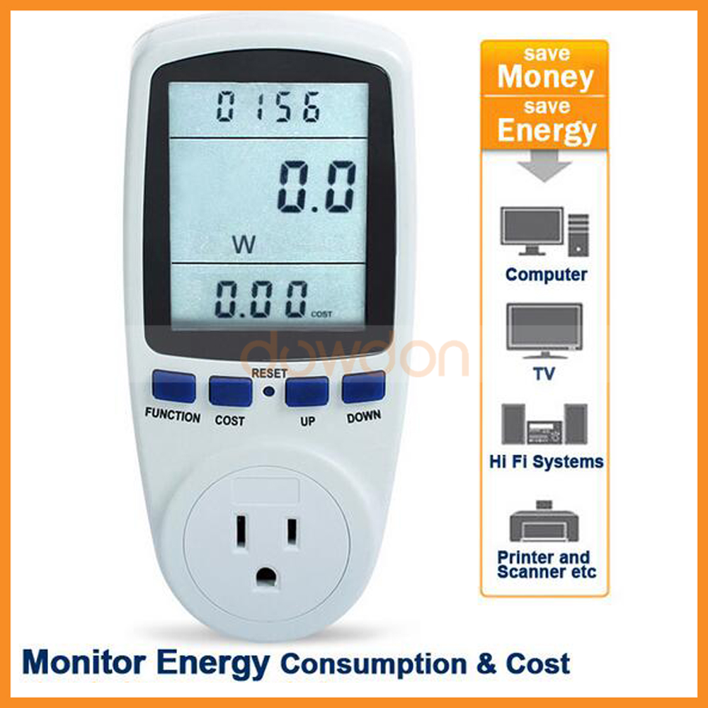 Plug in Power Consumption Meter Energy Electricity Usage Watt Calculator Monitor