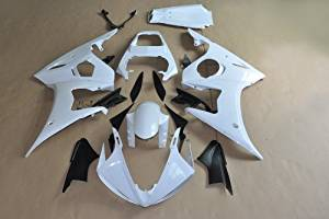 Wotefusi Brand New Motorcycle ABS Plastic Unpainted Polished Needed Injection Mold Bodywork Fairing Kit Set For Yamaha YZF R6 2003 2004 2005 White Base Color