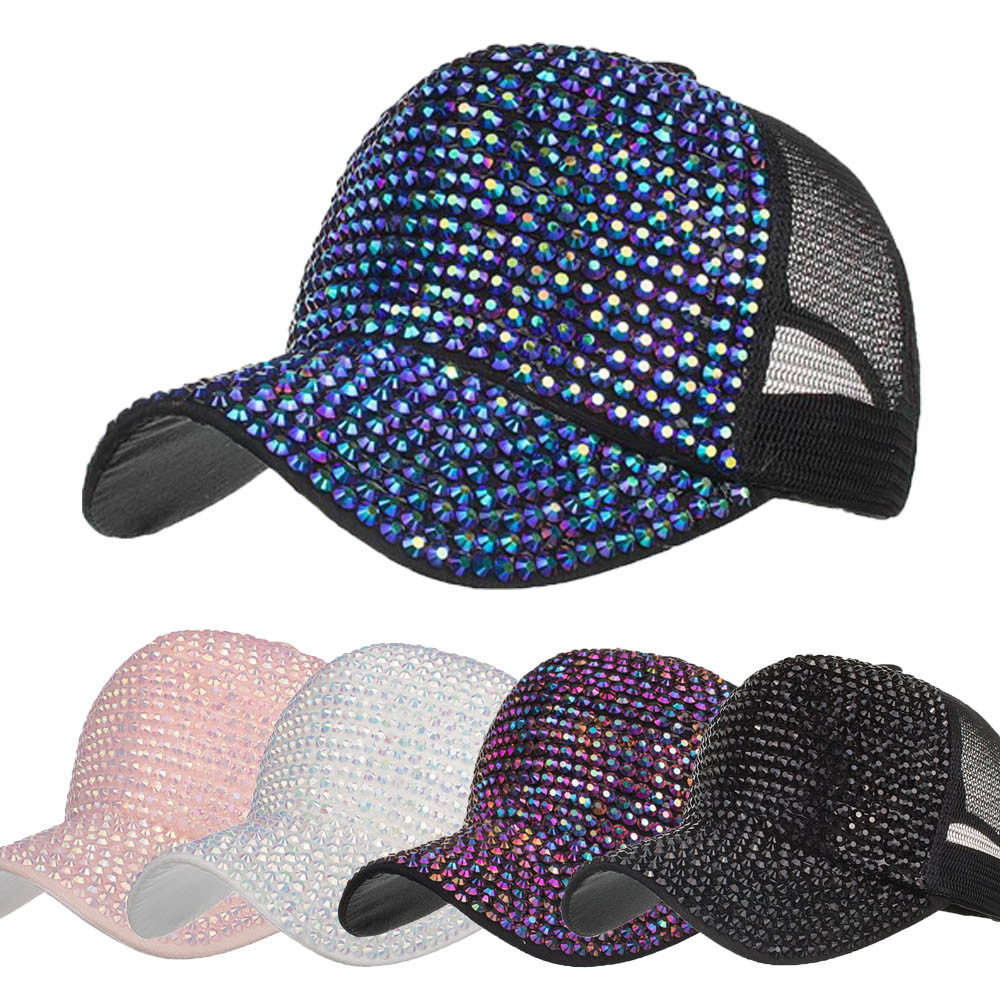 d30616b9d629e Women Rhinestone Hats Female Baseball Cap Mesh Snapback Caps Bling ...