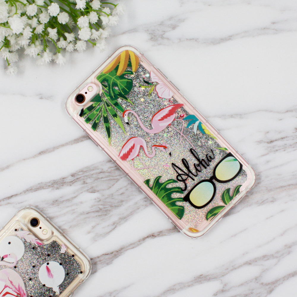 quicksand phone case Dynamic Liquid Glitter QuickSand Palm Leaves Flowers Phone Cases
