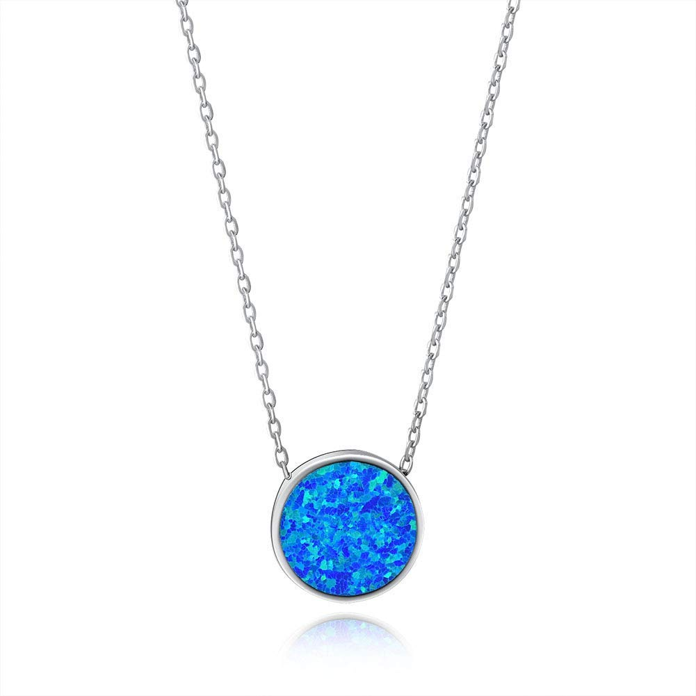 Fancime Created Opal Disc Pendant Necklace 925 Sterling Silver Long Chain Charm Jewelry for Women Girls 18""