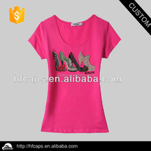 Lady's fashion custom beaded bamboo t-shirts wholesale
