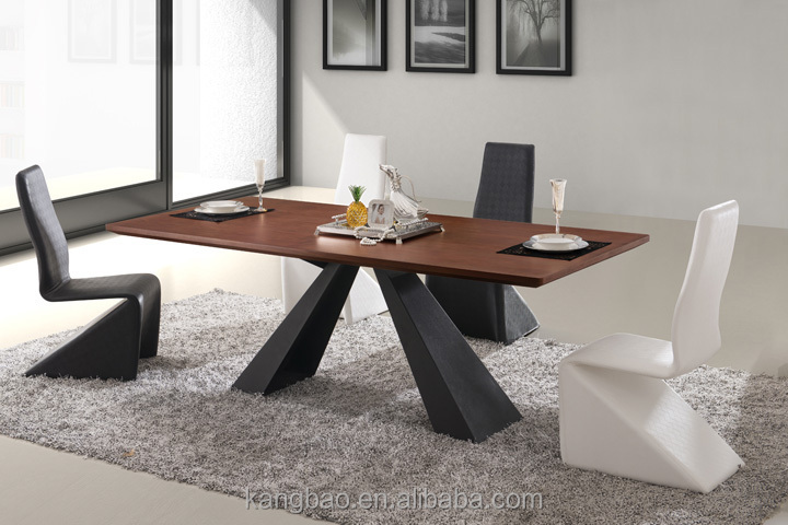 Kangbao Latest Design High Quality Dining Room Set, Modern Wood Table,Steel  Base Dining