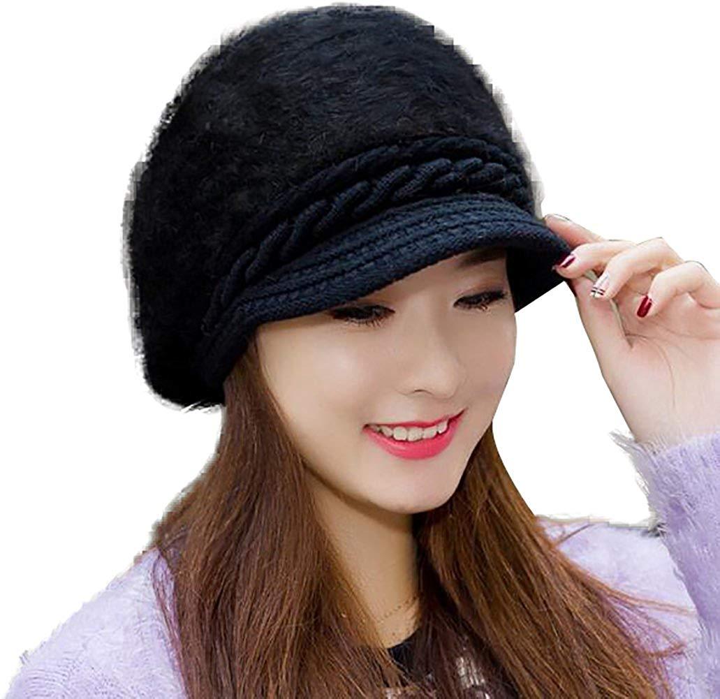 94f61c1ea30 Get Quotations · YI HENG MEI Faux Rabbit Fur Beanie Hats with Visor Cute  Cancer Warm Headwear for Winter