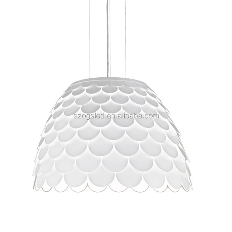 Nordic Postmodern Italy Designer White/Yellow Aluminum Fish scales Pendant Light