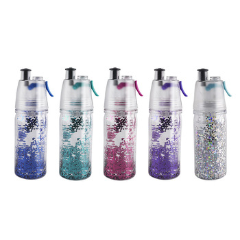 Wholesale 500ml 17oz double walled fitness mist spray plastic water bottle with straw