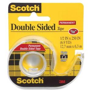 """Wholesale CASE of 25 - 3M Scotch Double-Sided Tape w/Dispensers-Double-sided Tape,w/Dispenser,Permanent,1/2""""x250"""",CL"""