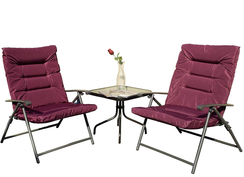 Kozyard Elsa 3 Pieces Outdoor Patio Furniture Padded Folding Sets for Yard, Patio, Deck or Backyard(Purple Red)