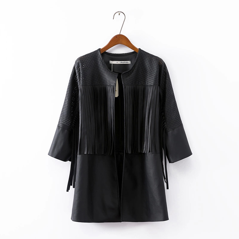 Long Leather Jacket Women Fashion 2015 Hollow Out Tassel Three Quarter Sleeve Pu Leather Jackets Black Motorcyle Jacket WJ06