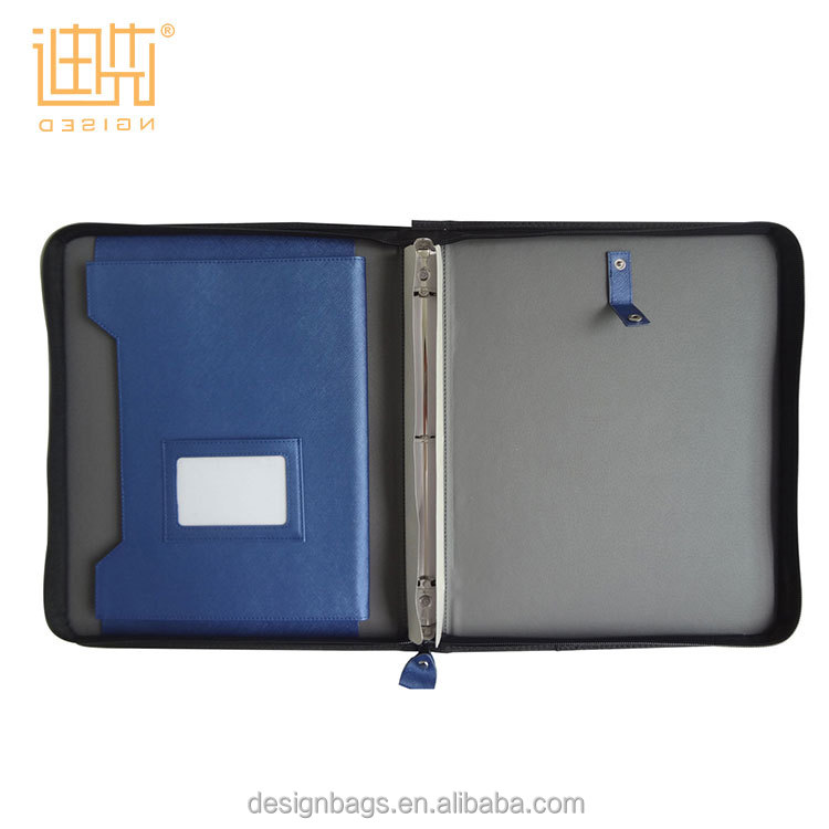 Mixed Blue Color zipper binder portfolio compendium folder with IPAD holder pocket