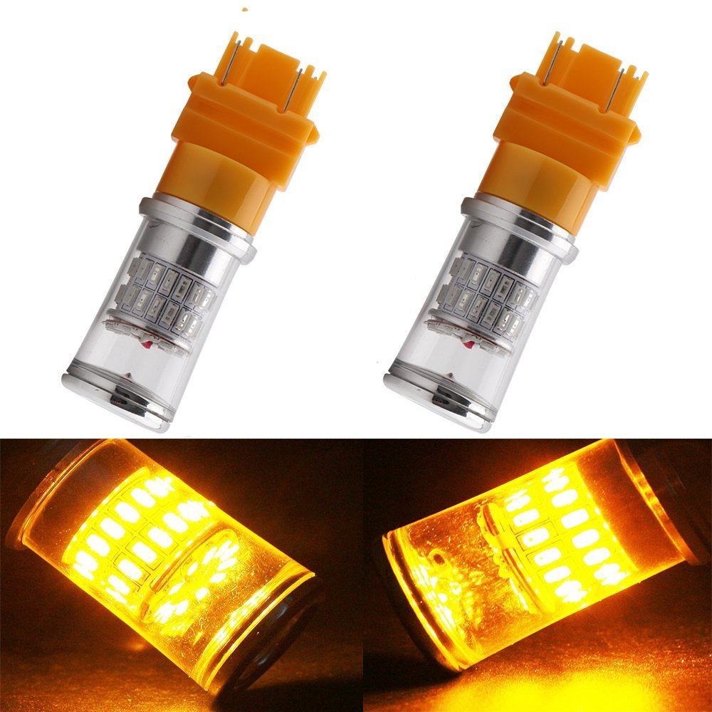 12-24V,1pc ,Yellow,9005 Ueannryer H1H7 H11 9005 9006 7443 3157 20x3030SMD LED 100W Cold White Red Light LED Bulb for Car Yellow