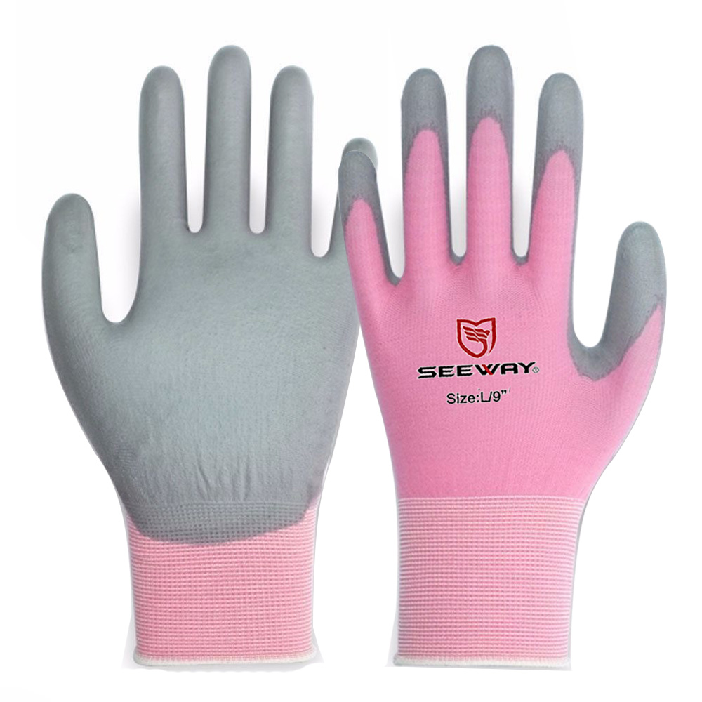 Customized Safety Inspection EN Standard Colored 18 Gauge Nylon Pu Hand Gloves