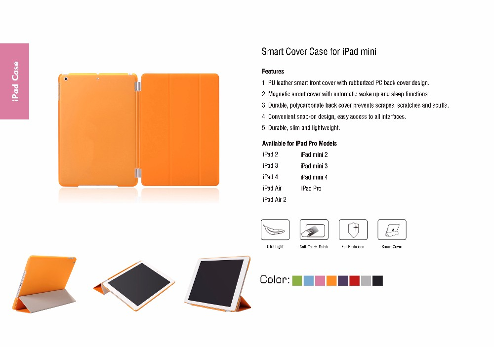 Detachable Leather Hard Smart Cover and Rubberized Back Case For iPad Pro 9.7 inch iPad 7