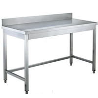 Stainless Steel304 Work Table Eco Line with Backsplash and Square Legs for Restaurant