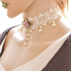 Fashion Ladies lace choker collar JEWELRY pearl handmade collar necklace wedding white lace collar