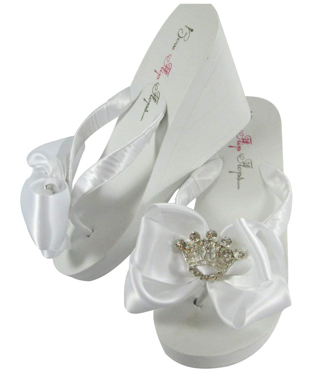 e9b9f84bbe0457 Get Quotations · Tiara Princess White or Ivory Wedge Bow Flip Flops - Flat  or Heel