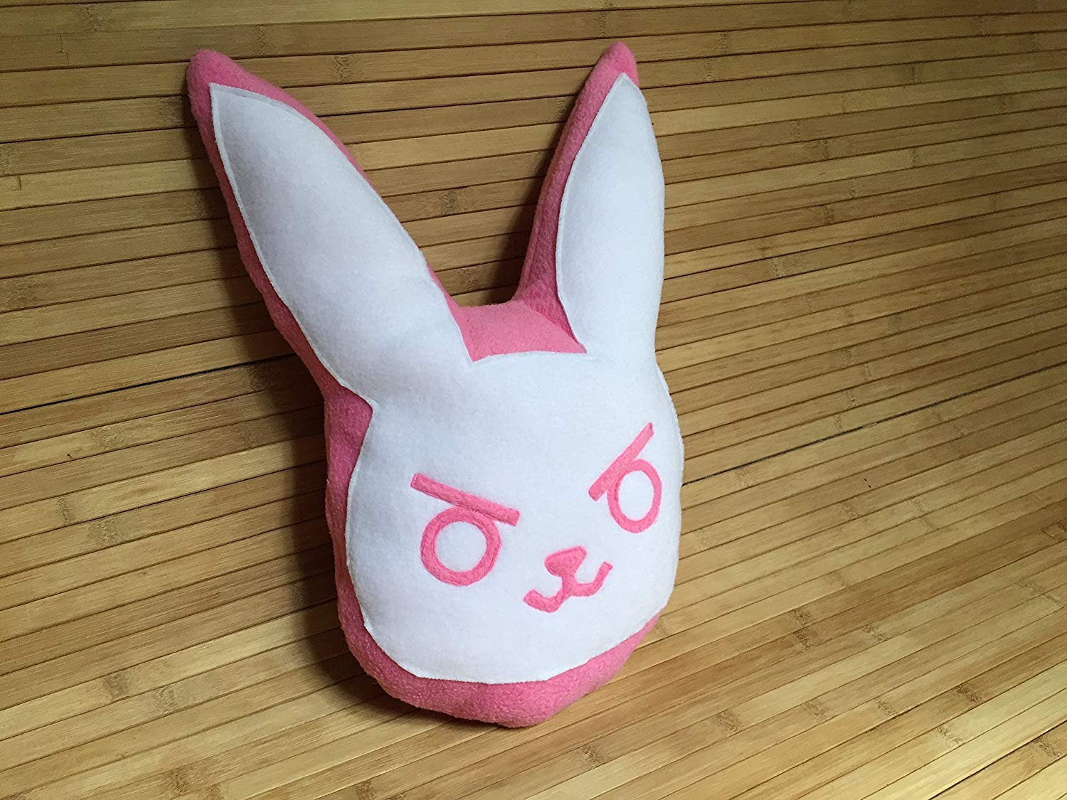 "Handmade 14x10"" Overwatch D.Va Bunny Throw Pillow, Game DVa OW Fanart Inspired Plush, Black or Dark Pink or Pink: you choose, Stuffed Toy, Travel Buddy Cushion, Super Cute Rabbit Plushie"