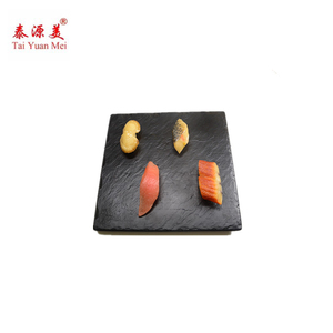 Factory Direct Sales Plate Wholesale Natural Edge 25*25*2.0cm Black Slate Stone Sushi/Cheese Board Plate