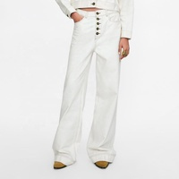 High Quality White Flared Women Jeans with Contrasting Piping