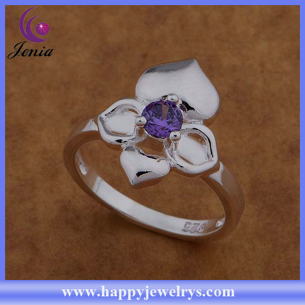 Purple crystal flower shaped 25 silver plated fashionable design stone ring (AR484)