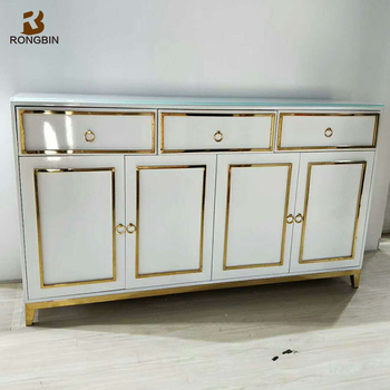 European Style Dining Room Sideboard Buffet Cabinet Furniture Lacquered White Contemporary Corner