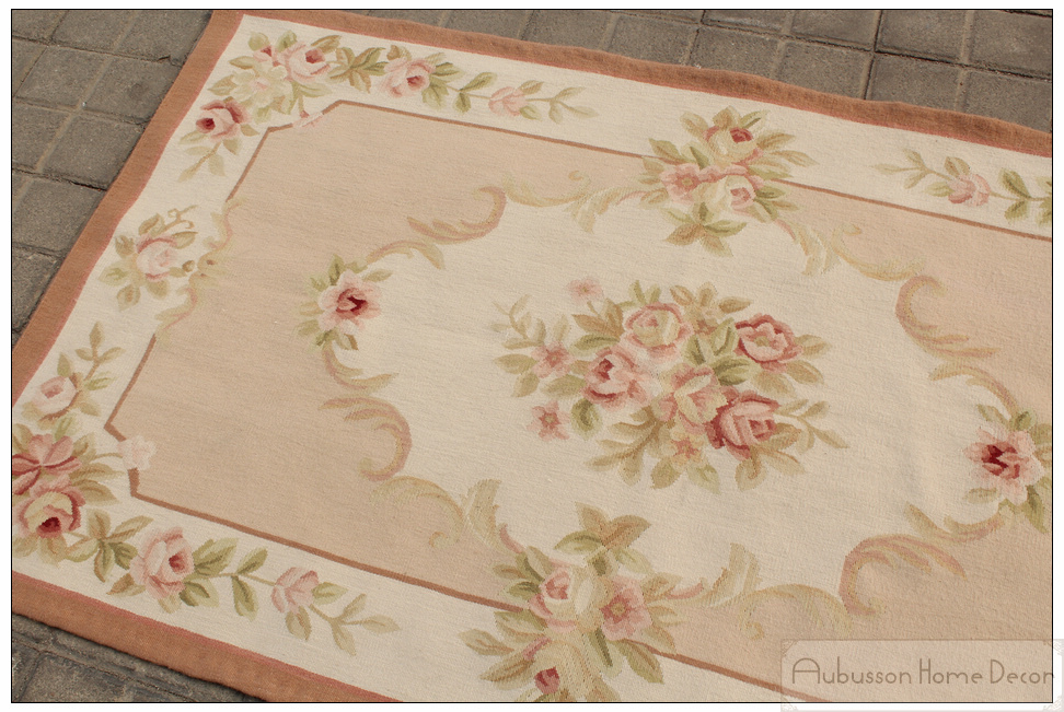 3u0027x5u0027 Wool Hand Woven Shabby Chic French Style Aubusson Area Rug