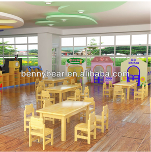 Hot Sale Kindergarten Wooden Furniture Set Kids Wood Table And Chairs