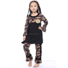 Wholesale Factory Kids Fall Boutique Outfit black floral Long Sleeve Top Matching Ruffle Pants baby Girls Cotton Clothing Set
