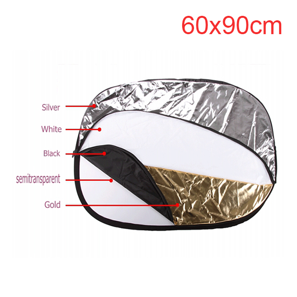 5 in 1 background board Collapsible 60*90cm Lighting Diffuser Round Reflector Disc