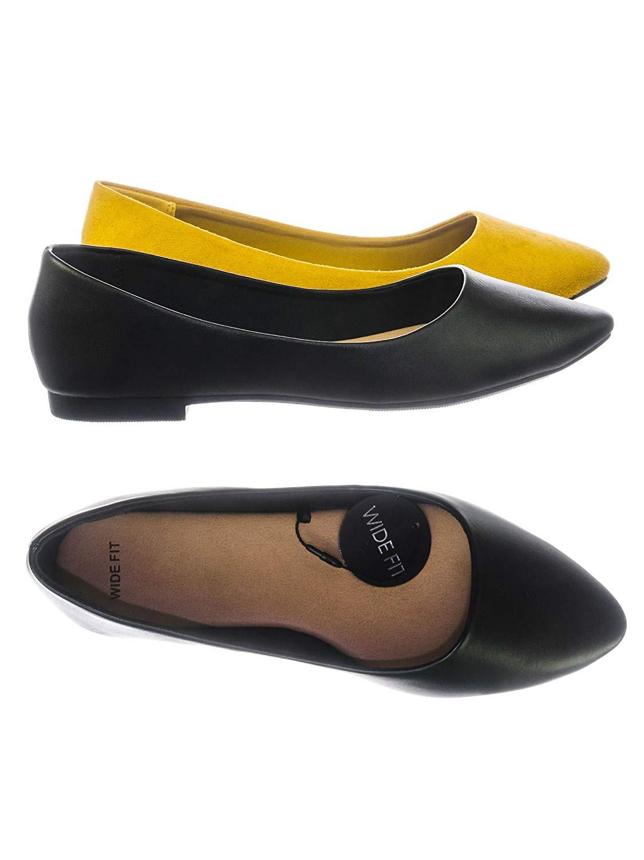 6794625b957 Get Quotations · Aquapillar Women Wide Width Comfortable Foam Padded Flat  Pointed Toe Ballet Flats